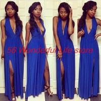 Women sexy Dress Evening Party Elegant Bodycon bandage Dress Backless Blue Floor Length Deep V casual dresses vestidos