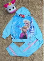 Frozen girl sports suits with velvet kids sportswear suit Autumn winter warm clothing sets Frozen clothes sets coat+pants K206