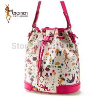 2014 winter new horse drawstring bucket bag portable handbag cartoon printing