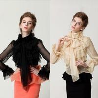 2015 Spring new Royal long sleeve chiffon shirt ladies' elegant ruffle chiffon blouse women's sexy Perspective vintage blouses
