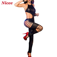 2015 hollowcut hole jumpsuit New Arrival Sexy Skinny Halter costumes Backless Mini Faux Bodycon  For Nightclub Ds Wearing d24
