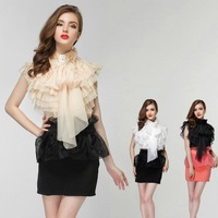 2015 New spring fashion Perspective stand collar ruffle chiffon blouse woman's short sleeve bow tie shirt elegant OL blouses