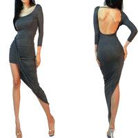 women dress  --4327 European and American sources AliExpress  oblique swing dress women sexy asymmetrical halter dress cotton be