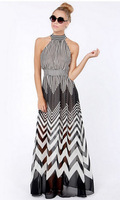 2015 new brand fashion summer wave stripe perspectivity patchwork long design halter-neck chiffon women evening club dresses