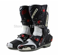 Free shipping Motorcycle Boots Pro biker SPEED Bikers Moto Racing Boots Protective Gear Motocross Leather Long Shoes B1003