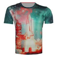 Top Fashion Hot Sale tops 2015 summer clothes women/men U.S. space shuttle print short sleeve 3d t shirt casual sport  t-shirt