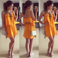 Vestidos Femininos  2015 Summer Tropical Dress Women Dress Chiffon Cute Vestidos Bandage Casual Dress