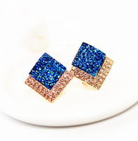 Wholesale generous 2015 square highlights the new European Statement jewelry Stud earrings Valentine's gift
