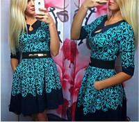 Vestidos Femininos 2014 New Winter Novelty Woman Floral Print Dress V neck Full Sleeve Vintage Dresses Casual Party Dresses