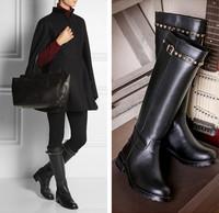 2015 Fashion Winter Women Genuine Leather Boots Flat Heel Knee High Boots Back Zipper Rivet Boots Botas Femininas