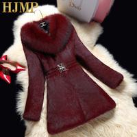 "best-selling 2014 butterfly clasp  Full leather rabbit fur coat ""women 's raccoon fur collar coat Free shipping"