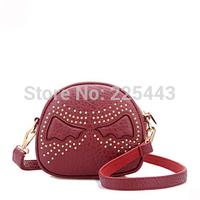 women handbag cute wings rivet shoulder bag women pu leather messenger bag free shipping