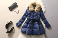 Hot-selling women's 2014 cotton-padded jacket quality fur collar high waist outerwear