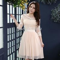 2014 Evening Dresses champagne color short design lace bag formal dress xlf330