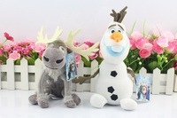 Hot Kids Doll Cartoon Movie Brinquedos dull toys 2PCS/Lot Sven(20cm) + Olaf (30cm) Doll Toys