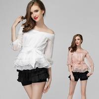 2015 New arrival sexy off shoulder top blouse ladies' slim waist short shirt three quarter sleeve ruffle bow shirt