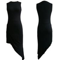 women dress  --AliExpress  4329 explosion models in Europe and America put barelegged sexy single oblique black dress nightclub-