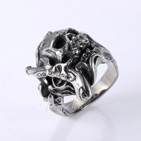 High Quality Punk Mens Boys Skull Gun Flower Silver Tone 316L Stainless Steel Ring Wholesale Fashion Gift Jewelry HR249