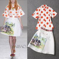 Runway 2015 Short Sleeve Dots Printed Shirt +House Printed Skirt  Skirt Suits   (1 set)   141215Z02