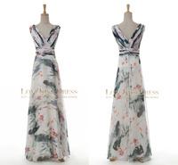 2015 Sexy Vestido De Longo V Neck Pleated Print Maxi Flower Chiffon A Line Long Celebrity Party Formal Prom Evening Dress