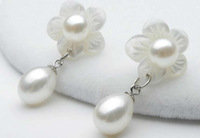Free shipping!!!Freshwater Pearl Drop Earring,Men Fashion Jewelry, with Freshwater Shell, sterling silver post pin, Flower