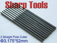10pcs 3.175x52MM 2 Flutes Straight Bit Wood Router Cutters Set, Tungsten Solid Carbide End Mills MDF Foam CNC Cutting Bits Tool