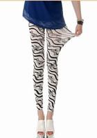 5 pieces High Waist Patterned Stripe Fitness Brand black White Zebra Stripe milk silk Leggings pencil pant trouser For Women