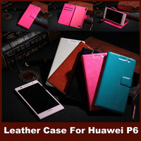 Luxury Leather Stand Flip Cover Case For Huawei P6 Crazy Horse Pattern Phone Bag Wallet With Card Holders For Case Huawei P Six