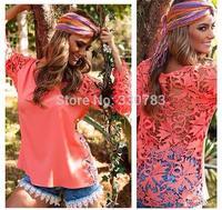 Wholesale clothing sobretudo feminino 2015 verao Openwork lace stitching round neck long-sleeved chiffon shirt roupa