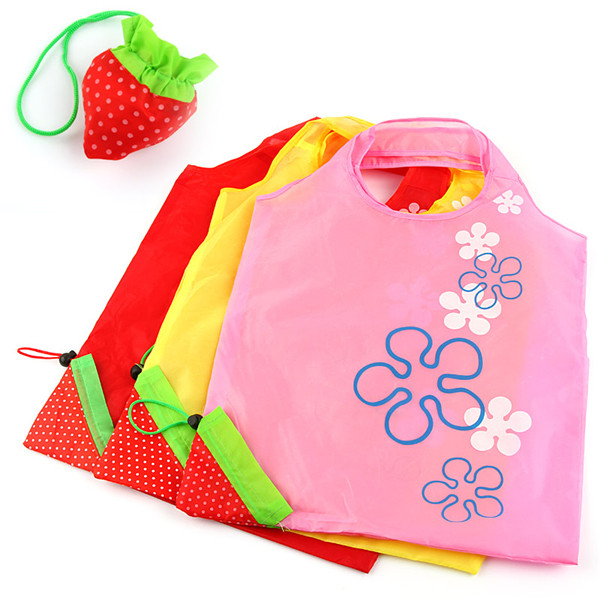 Random Colors Cute Fresh Strawberry Foldable Carrier Strap Reusable Recycle Shopping Bag Tote(China (Mainland))