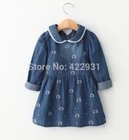 Lovely~ 2015 Spring new fashion European designer long sleeve hello kitty embroidery baby girls dress,brand girl's denim dress
