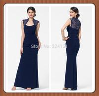Hot Sale New Arrival Sexy Gown Elegant Sheath Lace Dark Blue Women Long Evening Dress