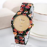 New Geneva Women's Watch Fashion Print Rose Flower Quartz Watches Luxury Imitation Ceramic  Brand Dress Business Wristwatch