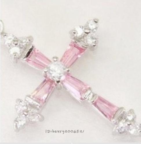 Amiable Rose Quartz cross white gold pendant necklace(China (Mainland))