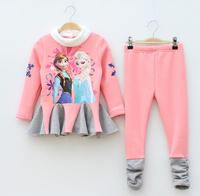 free shipping 2015 New Arrival girl baby clothing sets autumn winter frozen Elsa Anna long sleeve t shirt top + pants leggings