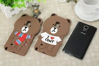 New Cute Bear Cases Silicone Case For Samsung Galaxy note 4 3D Cases Back Covers Protective Case
