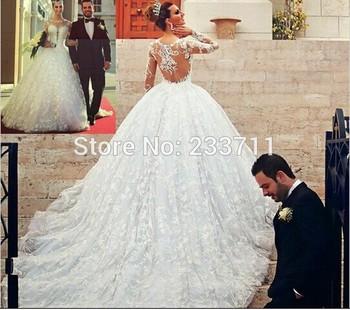 Великолепные чисто с длинным рукавом из органзы Tull бальное платье чешские кружева свадебные платья 2015 свадебные платья Noiva де ренда 121511