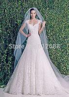Romantic vestido de noiva 2015 Zuhair Sweetheart Lace Beading Cap Sleeve Chapel Train Luxury A-line Wedding Dresses 2015