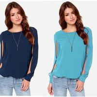 2015 New Cheap O neck women's chiffon blouse long sleeved chiffon shirt Blusas Femininas 4 colors WG#