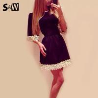 SW 2014 New Fashion Latest Design Tropical Summer Half Sleeve Loose Lace Mini Women Dress Female Black Color Free Shipping