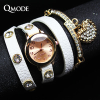 QMODE 2014 New Fashion 7color Women Dress Watches Leather Strap Watch Wristwatches Ladies Women  Long Chain Quartz Luxury Watch