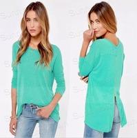 Hot Sale New fashion 2015 autumn winter back zipper long sleeve casual cotton t-shirts women blouses shirts sky blue