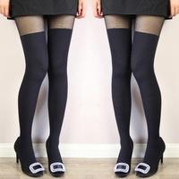 Opaque Stitching Womens Over Knee Thigh Siamese Leggings Elastic Socks
