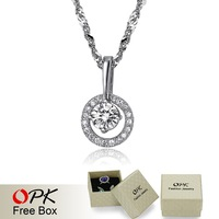 OPK Brand Classical Austria Crystal Stone Pendant Luxury White Gold Plated Women Necklace Jewelry For Wedding Bridal