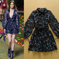 Free Shipping 2015 European Women Fashion Star Printed Belted Shirt Dress Casual Dress F16662