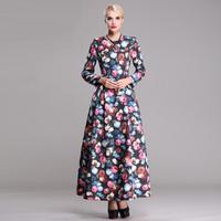 women work wear new  autumn winter super long vintage style flowers print plus size xl xxl xxxl casual x-long maxi dress