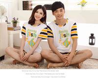 Korean couple pajamas summer home cotton short-sleeved summer suits Men Women striped pajamas