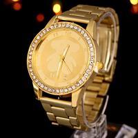 Fashion Women Geneva Bling Stainless Steel Quartz Crystal Wrist Watch