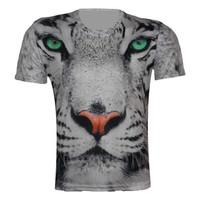 Top Fashion New 2015 Men's Short Sleeve Animal Head Green Eye Printed T Shirt Plus Size XS-6XL Tops Sport Polyster T-Shirt Tees