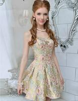 Princess 2014 Vintage Pink Short Prom Dress Slim Ruffles Spaghetti Strap Evening Party Dress Pullover 2015 party graduation